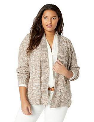 Jason Maxwell Women's Marled Cable Open Cardigan Sweater
