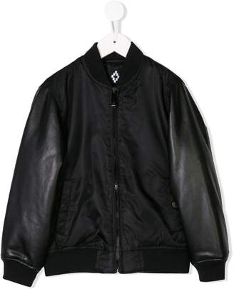 Marcelo Burlon County of Milan Kids faux leather sleeve bomber jacket