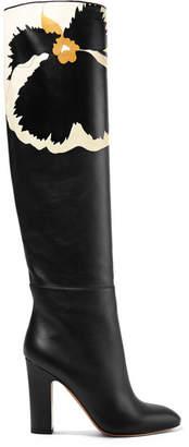 Valentino Garavani Printed Leather Knee Boots - Black