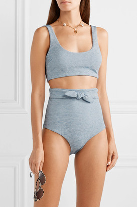 Mara Hoffman Net Sustain Lira Striped Jacquard-knit Bikini Top - Light blue