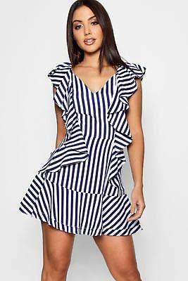 Kirsty Ruffle Stripe Drop Hem Mini Dress