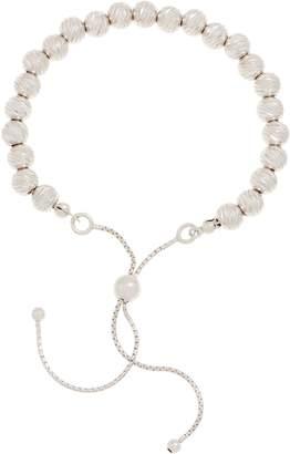 Italian Silver Adjustable Diamond Cut Bead Bracelet 5.3g
