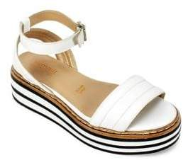 White Mountain Summit By Laney Athletic Leather Ankle-Strap Platform Sandals