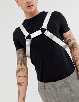 Asos Design DESIGN festival faux leather harness in silver metallic