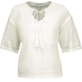 Derek Lam 10 Crosby Crochet-Paneled Jersey Top