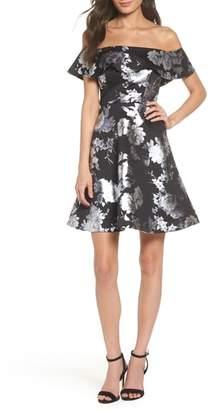 Sequin Hearts Off the Shoulder Foil Scuba Fit & Flare Dress