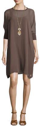 Eileen Fisher Silk Georgette Round-Neck Shift Dress, Petite