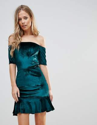 Oh My Love Velvet Off Shoulder Pephem Dress