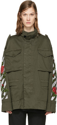 Off-White Green Diagonal Roses Jacket $1,810 thestylecure.com