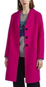 Women's Velvet-Trimmed Wool Coat - Pink