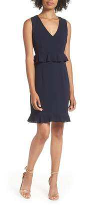 Charles Henry Double Ruffle Sheath Dress