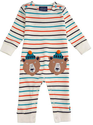 Joules Fife Striped Coverall w/ Bear Appliques, Size 6-24 Months