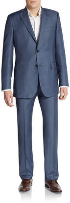 Saks Fifth Avenue Made In Italy Slim-Fit Wool Sharkskin Suit