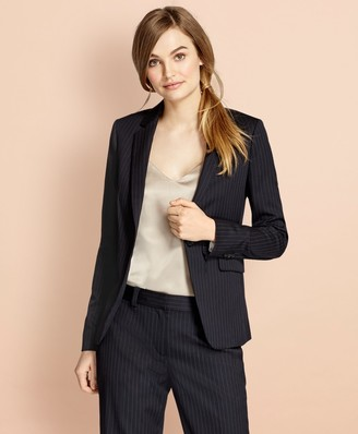 Brooks Brothers Pinstripe Stretch Wool One-Button Jacket