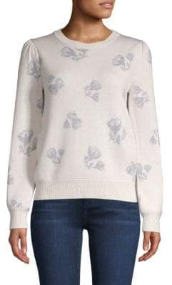 Rebecca Taylor Floral Puff-Shoulder Sweater