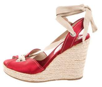 Prada Satin Espadrille Wedges