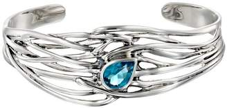 Hagit Sterling Silver Blue Topaz Wave Cuff