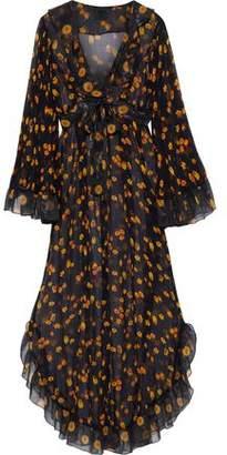 Anna Sui Ruffle-Trimmed Metallic Floral-Print Silk-Georgette Maxi Dress