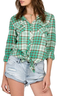 Women's Volcom Sano Dayz Plaid Tie Front Shirt $52 thestylecure.com