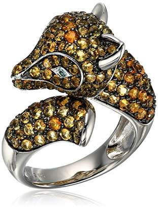 Sterling Silver Citrine and Swiss Blue Topaz Fox Ring