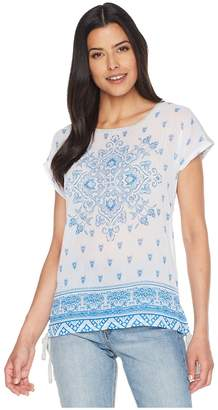 Vince Camuto Short Sleeve Side Tie Persian Medallion Mix Media Tee Women's T Shirt