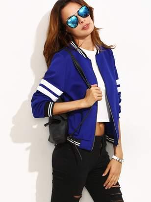 Shein Contrast Trim Varsity Baseball Jacket