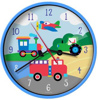 """Olive Kids Wildkin Trains, Planes, Trucks 12"""" Wall Clock"""