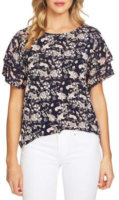 CeCe Tiered Sleeve Floral Top