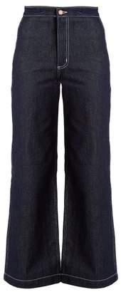 Bliss And Mischief - Arrow High Waist Wide Leg Jeans - Womens - Indigo