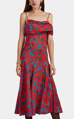 10cfce3784 Versace Women s Floral Silk Off-The-Shoulder Midi-Dress - Red