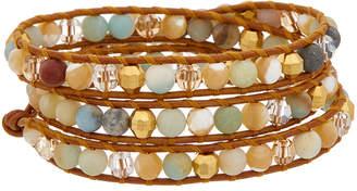 Chan Luu 18K Over Silver Gemstone & Crystal Leather Wrap Bracelet
