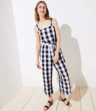 3e87102670 LOFT Gingham Smocked Back Tie Waist Jumpsuit