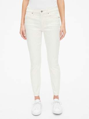 Gap Mid Rise Stripe True Skinny Ankle Jeans