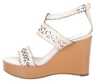 Chloé Laser-Cut Platform Wedge Sandals