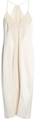 Halston Chiffon-Paneled Satin And Crepe De Chine Dress