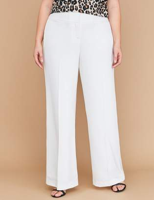 Lane Bryant Allie Tailored Stretch Wide Leg Pant - Fully Lined Cream