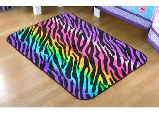 Your Zone Rainbow Zebra Faux Mink Rectangular Rug, multi-color, 30 x 46