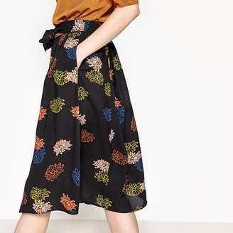 La Redoute Collections Tie Waist Button Down Floral Print Midi Skirt