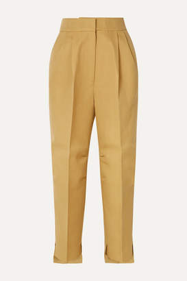 Petar Petrov Cropped Grain De Poudre Wool And Silk-blend Tapered Pants - Beige