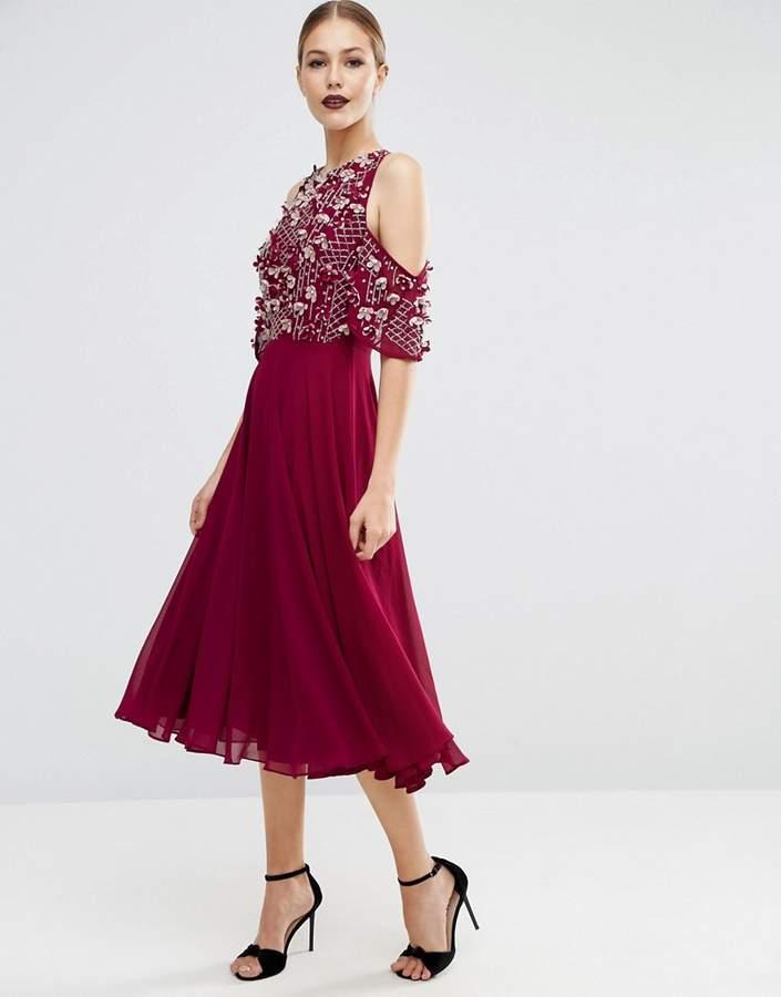AsosASOS Cold Shoulder Flutter Sleeve Embellished Bodice Midi Dress