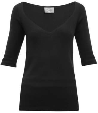 Prada V Neck Cashmere Blend Sweater - Womens - Black