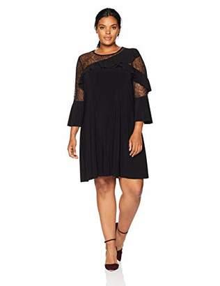 Gabby Skye Women's Plus Size 3/4 Bell Sleeved Round Neck ITY Shift Dress