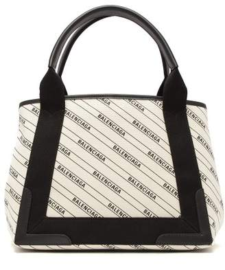 Balenciaga Navy Cabas Logo Print Tote Bag - Womens - Black Cream
