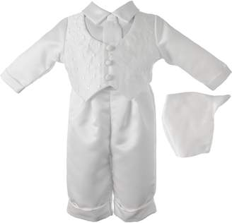 Ralph Lauren Madison Baby-Boys Newborn Christening Baptism Special Occasion Three Piece Satin Long Pant Outfit Set