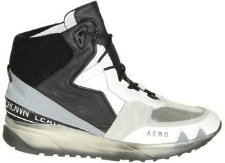 Leather Crown aero Sneakers In White Leather With Silver And Black Details