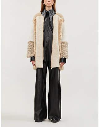 Stella McCartney Faux fur-panelled alpaca and wool-blend coat