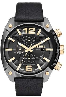 Diesel Men's Overflow Croc-Embossed Leather Strap Watch, 49mm