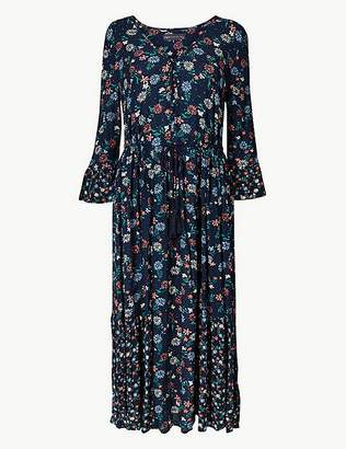 Marks and Spencer Floral Drawcord Relaxed Midi Dress