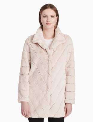 Calvin Klein faux fur chevron coat
