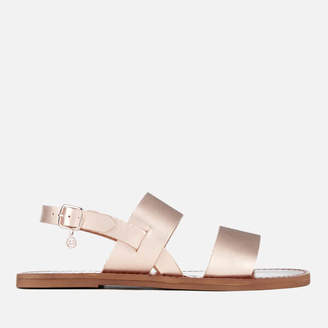 be789be1a46ccb at Allsole · Dune Women s Lowpez Leather Double Strap Flat Sandals - Rose  Gold